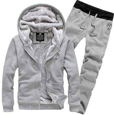 Men Winter Sweatshirts Jackets Thick Velvet Hooded Zip Coat Hoodies And pants