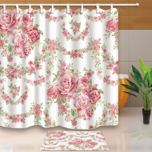 New Flower pink roses vine Shower Curtain Bathroom Fabric /& 12hooks 71*71inches