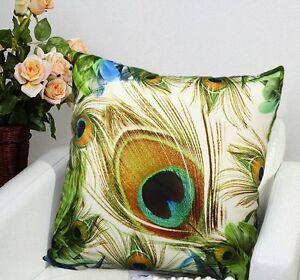 Decorative Velvet Peacock Feather Pillow Cushion Cover Double Sides Artwork