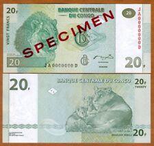 JB-A UNC /> Lions 5 x 20 Francs 2003 P-94 LOT Congo D.R.
