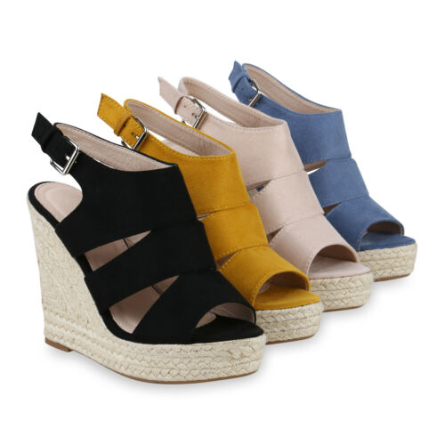 Damen Plateau Sandaletten High Heels Keilabsatz Schuhe Bast 830627 Schuhe