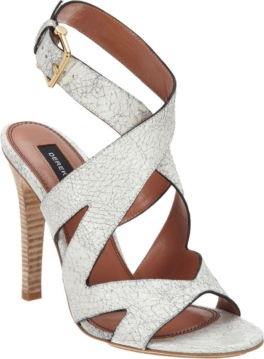 DEREK LAM Weiß Crackled 'Frota' Sandals Sz 10