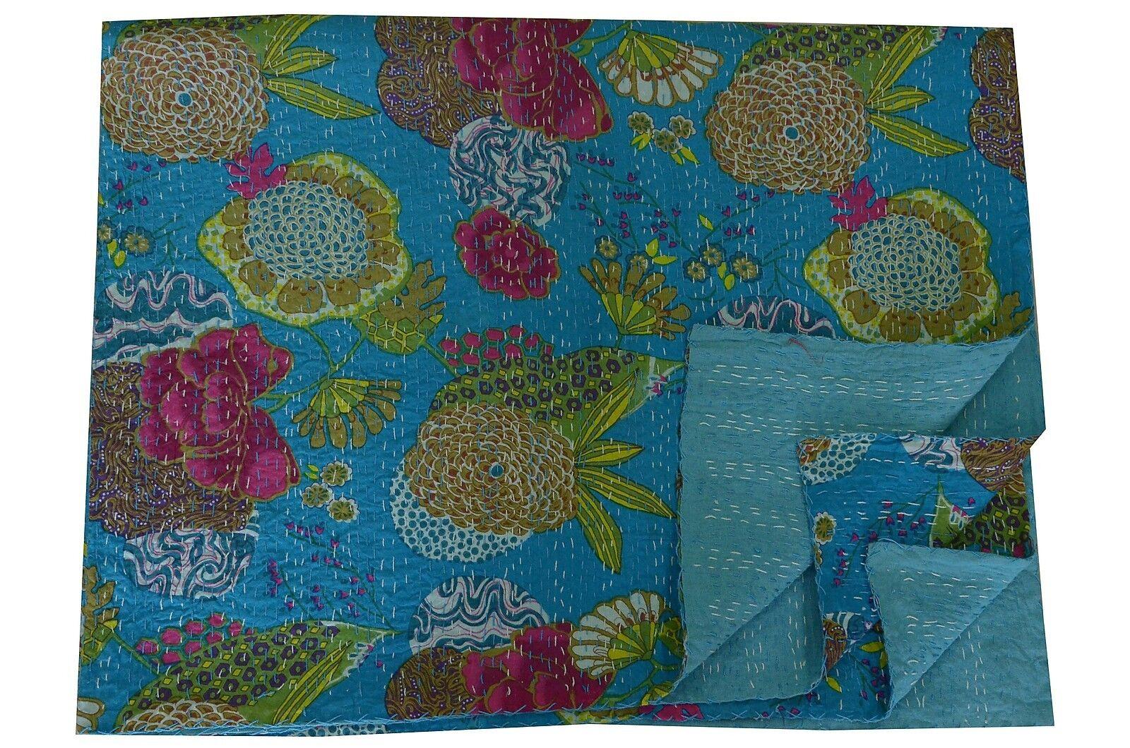 Indian Kantha Quilt Floral Bedspread Throw Cotton Blanket Turquoise Gudari Decor