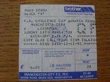 13/03/1988 Ticket: Manchester City v Liverpool [FA Cup]. Item In very good condi