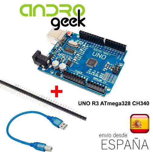 UNO R3 ATmega328 CH340 100% Compatible con Arduino + pines + CABLE USB.Ordinario