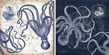 "NEW Set of 2 Mariner's Compass and Map Indigo Octopus Coastal Poster Art 12""x12"""