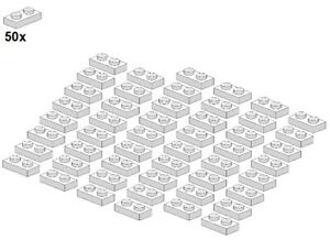 Used-LEGO-Plates-White-3023-05-1x2-50Stk-Platte-Weiss