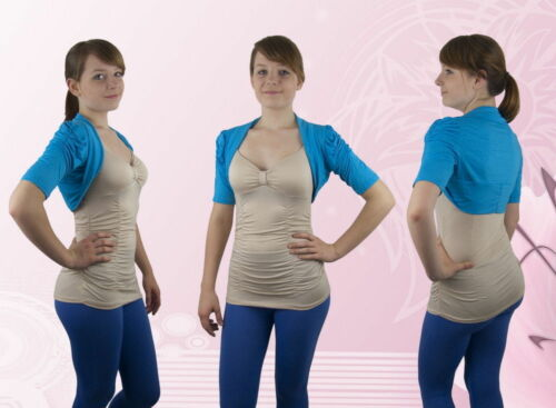 Damen Bolero Bolerojacke Jacke Kurzarm Blau - Braun M L XL