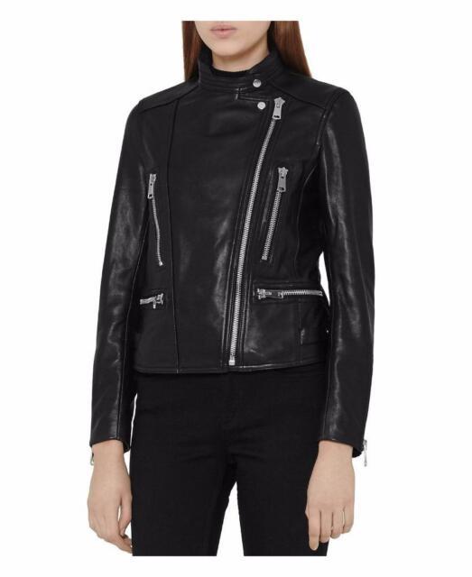ae318c2bb Reiss Erin Leather Biker Jacket in Black Size UK 8/us 4