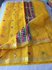 Kota Cotton Indian Bollywood Ethnic Yellow Saree Designer Mirror work Sari