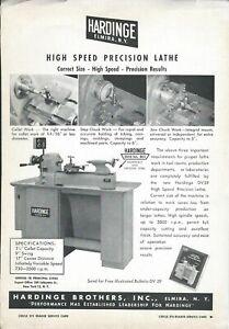 Tool-Equipment-Ad-Hardinge-High-Speed-Precision-Lathe-c1950-039-s-TL65