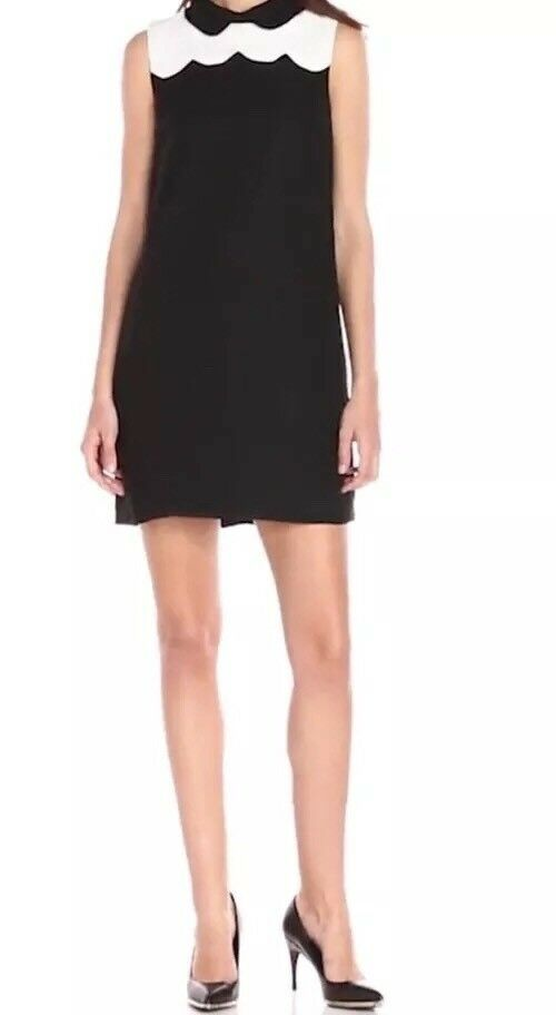 CeCe by Cynthia Steffe Peter Pan Collar Scalloped Shift Dress, Größe 2, Blk & Wht