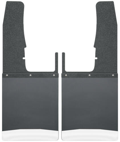 """Husky Liners 17102 Kick Back Mud Flaps 12/"""" Wide Stainless Weight Black Top"""