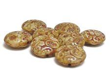 13mm Beige Picasso Czech Glass Paisley Swirl Button Beads i(8) #3088