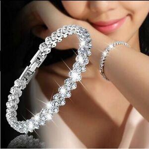 Hot-Fashion-Women-Lady-Silver-Plated-Crystal-Chain-Charm-Bracelet-Bangle-Jewelry