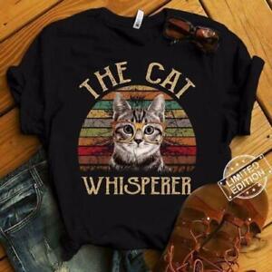 The-Cat-Whisperer-Vintage-Cat-Lover-T-Shirt-Cotton-Men-Black-S-6XL-Made-in-USA