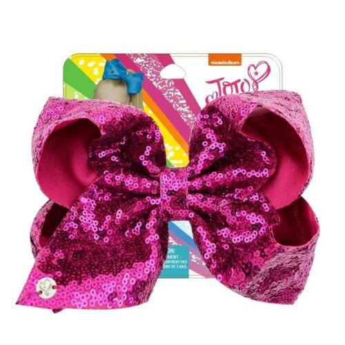 "Jojo Siwa Rainbow 8/"" Large Sequin Hair Bows Girl Bling Sequin Clips Hairgrips"