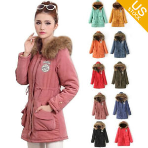 Ladies Winter Coat Parka Warm Long Jacket Thick Fur Collar Hood ...