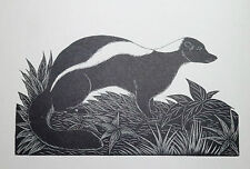 THE SKUNK : B&W Art Deco Wild Animal Print of a 1920s Wood-cut By DAGLISH