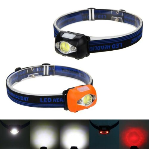 300LM COB+2 RED LED Headlamp Headlight Fishing Head Light Lamp Torch 3x AAA