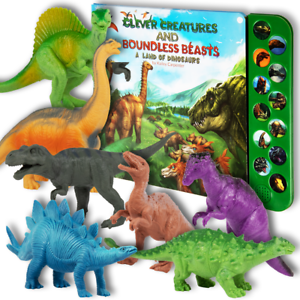 12 Button Dinosaur Sound Book Set with 12 (7) Realistic Dinosaur Toys