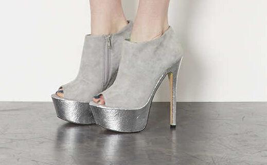TOPSHOP Sansa Ladies Ladies Ladies Grey Peep Toe shoes Boots Party Pub Disco UK 6  EU39  rrp b99214