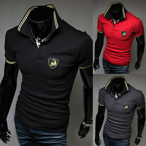 New-Mens-Fashion-Korean-Style-Slim-Leisure-Short-Sleeve-Polo-Shirts