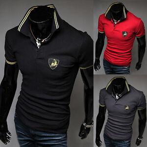New-Mens-Fashion-Korean-Style-Slim-Leisure-Short-Sleeve-Polo-Shirts