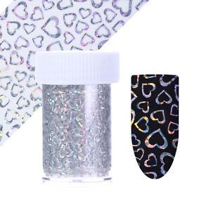 Holographisch-Nagelfolie-Nail-Art-Folie-Hexagon-Punkt-Herz-Nagel-Stickers