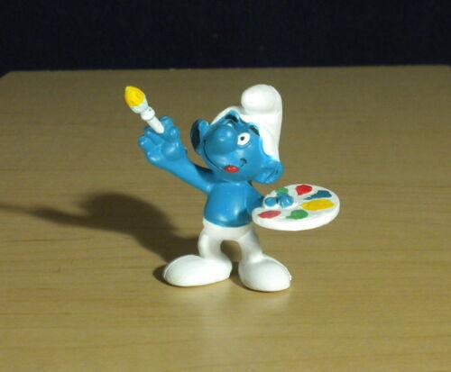 Smurfs Painter Smurf Painting Artist Figure 20045 Vintage PVC Toy Art Figurine