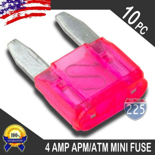 10 Pack 4A Mini Blade Style Fuses APM//ATM 32V Short Circuit Protection Car Fuse