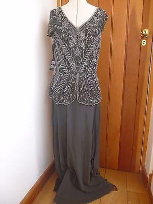 Silver 1920s Maxi Dress Grey Beaded Maxi