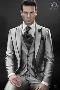 Suit uomo da da ballo Best Groomsman da da Shiny sposo uomo Grey personalizzato Smoking IgSnYTxx