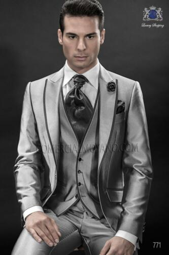 uomo Groomsman da da uomo personalizzato Suit sposo Best Smoking da Shiny Grey da ballo PzqCUx6
