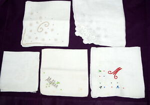 Vtg-Hankie-Handkerchief-Lot-5-White-Embroidered-Cut-Work-Applique-Mother-Initial