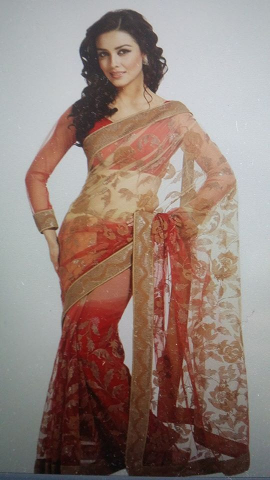 NEW BOLLYWOOD INDIAN PAKISTANI ETHNIC DESIGNER NET SAREE IN A SHADED RED COLOUR