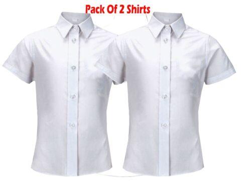 """2 Confezioni Ragazze Camicia Blusa Top Bianco School Uniform Maniche Corte 26/"""" 48/"""""""