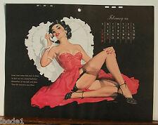 E. Chiriaka Calendar Page February 1954 Telephone Girl Pink Dress Black Garter