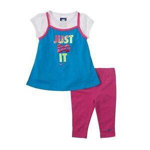 6cecd6831fd26 NIKE Girls Tunic Capri Leggings 2 Piece Set Top Shirt Tee Pants NWT ...