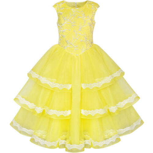 Sunny Fashion Girls Dress Ball Gown Princess Belle Beauty And Beast Size 6-12