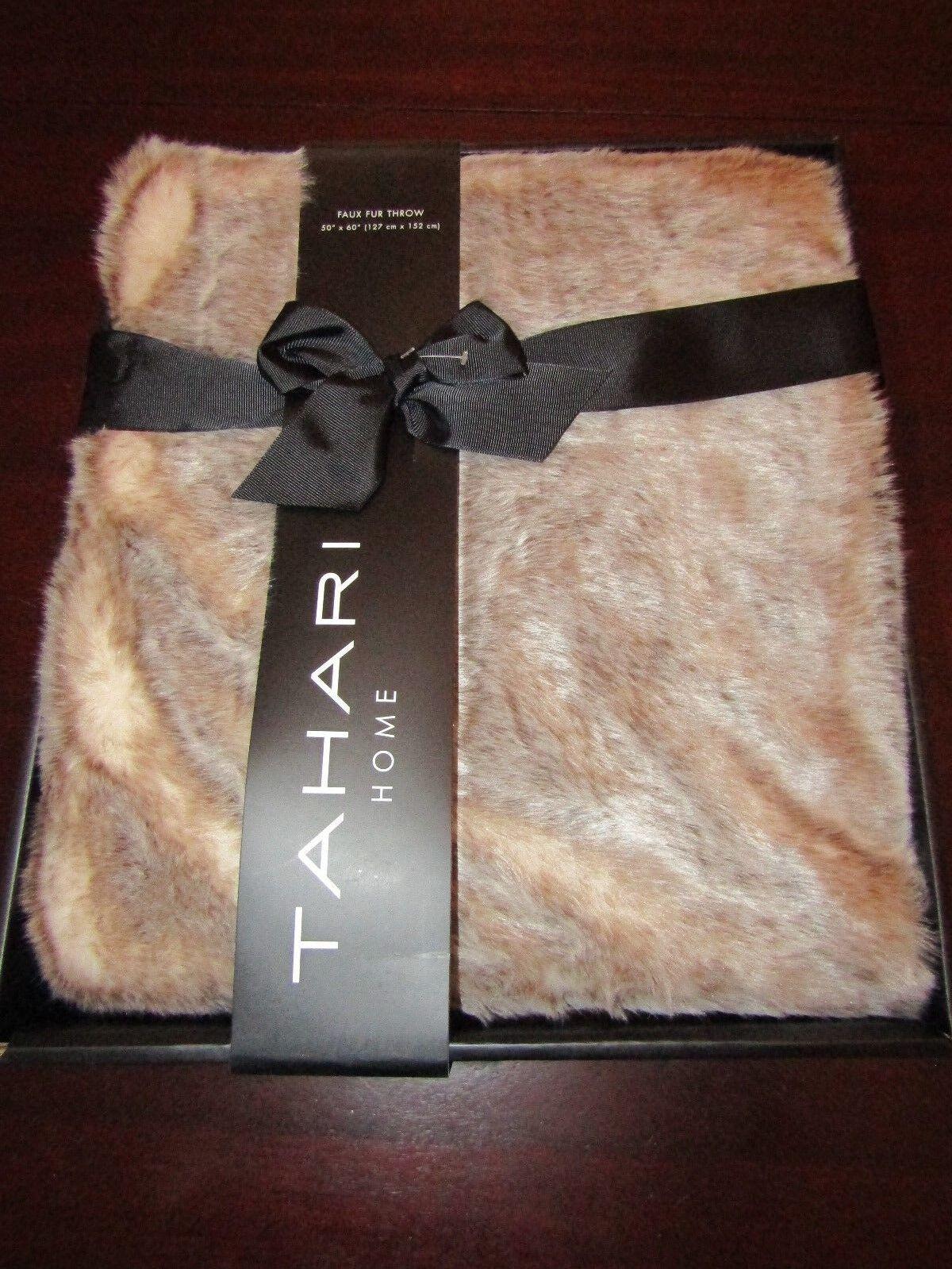 Tahari faux fur blanket throw 50x60 nwt new in original box
