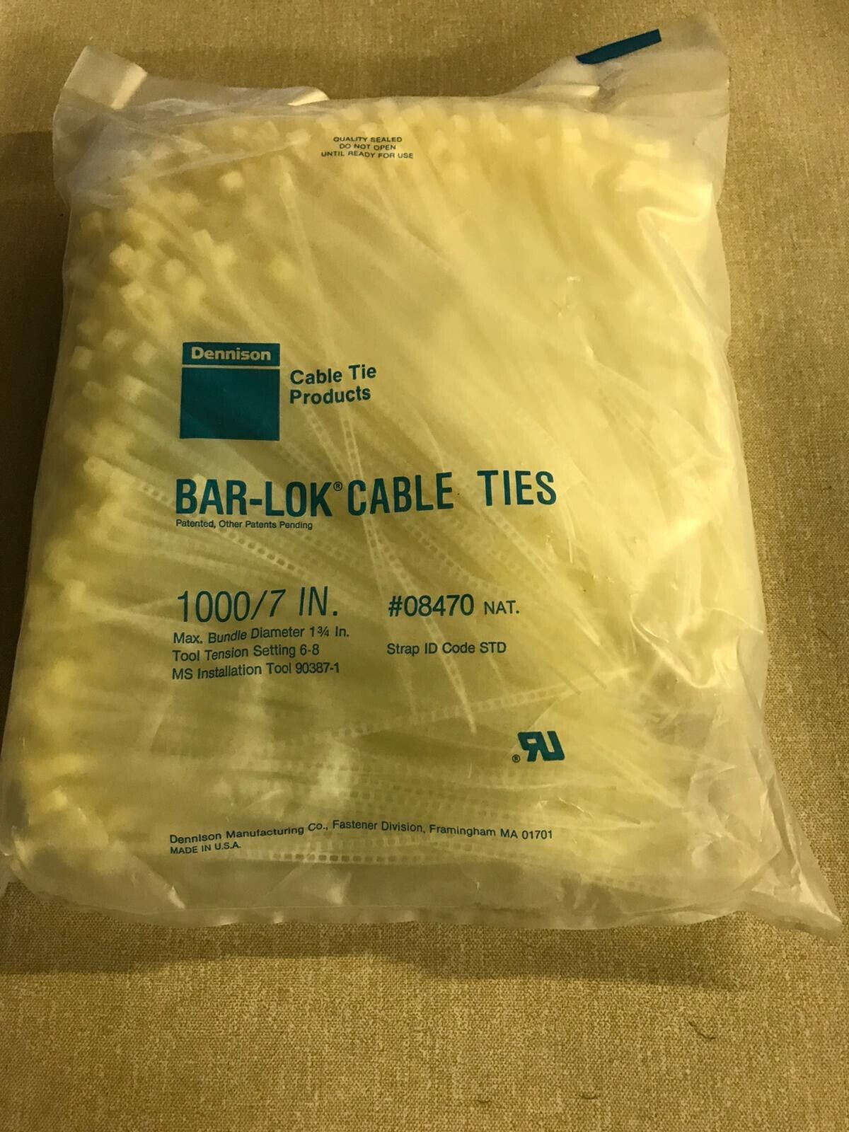 1000 Plastic bar-lock cable ties 7inches