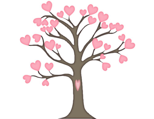 Rosa Hoja corazón árbol 130 pequeños o 48 grandes Sticky Libro Blanco calcomanías Etiquetas