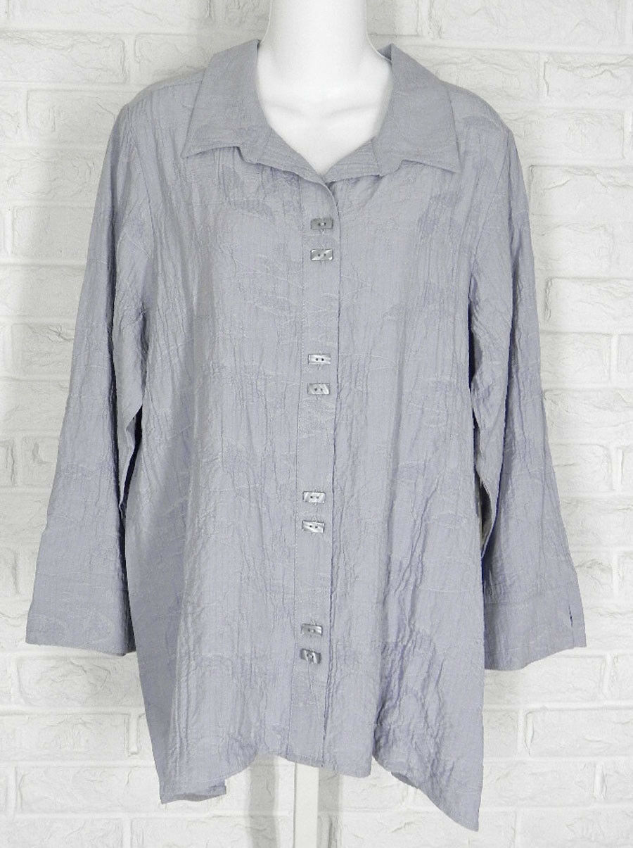 HABITAT Swing Shirt Tunic Jacquard Crush High Low Hem Cloud grau NWT XS M L XL
