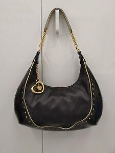 LOVCAT-Paris-Black-Genuine-Leather-Satchel-Handbag-Shoulder-Bag-w-Gold-Hearts