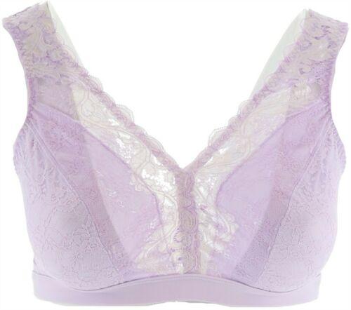 Breezies Wirefree Bralette Lace Neckline Lilac w Cream 2X NEW A347326