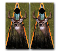 Buck Whitetail Deer Hunting Cornhole Wrap Set High Quality Vinyl Board Decal