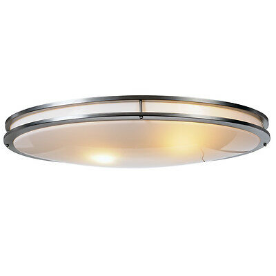 "Monument Lighting 614011 17/"" Fluorescent Oval Ceiling Fixture in Brushed Chrome"