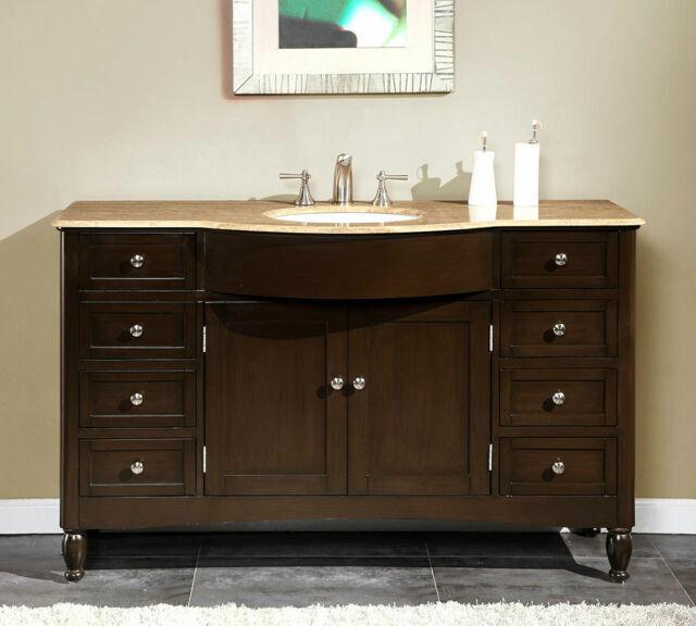 58 Inch Travertine Top Bathroom Single, Large Bathroom Vanity