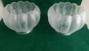 Nice Pair Of Antique Victorian Etched Glass Gas Light Shades 3 3 4 Inch Fitter Ebay